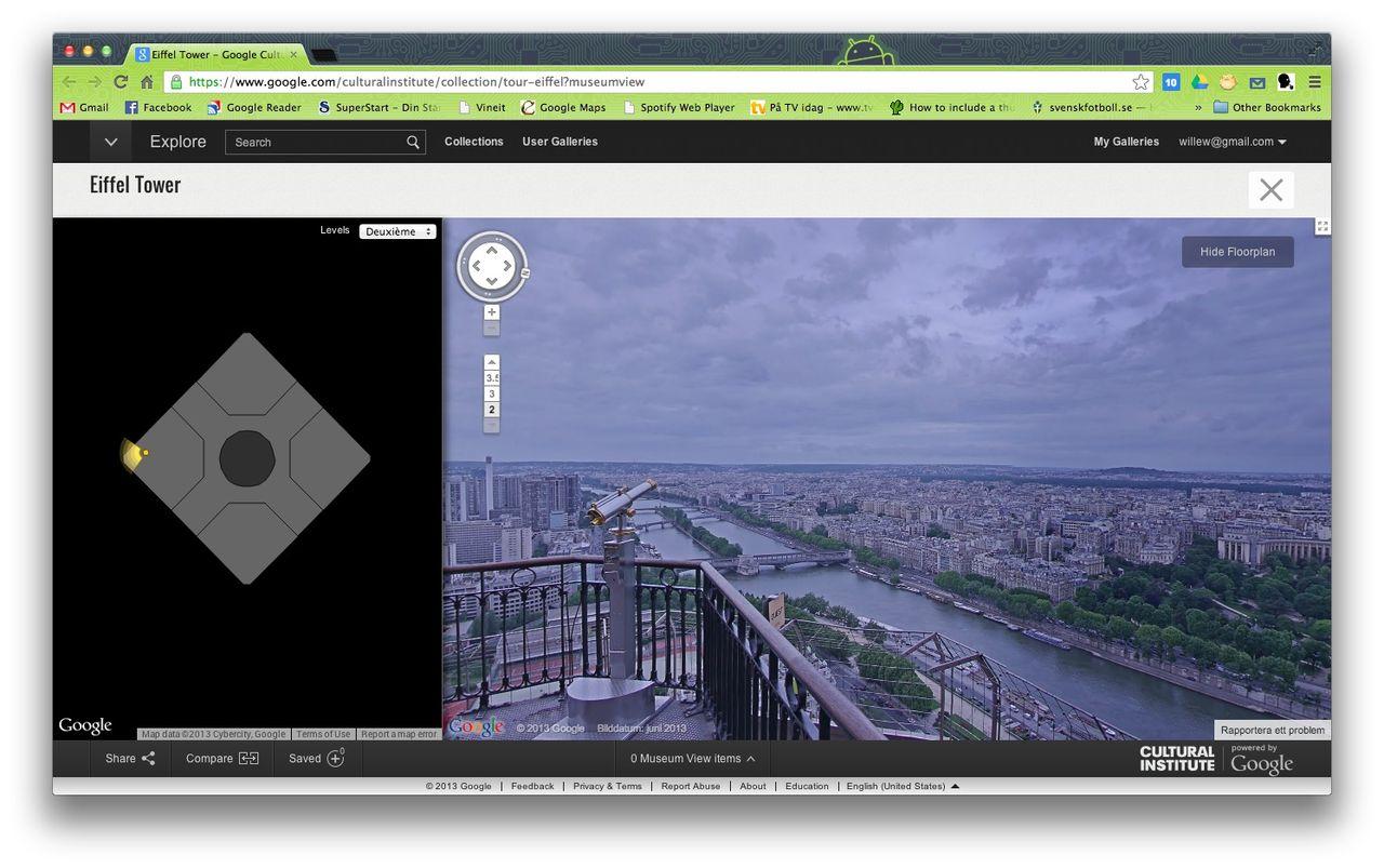 Kolla in utsikten från Eiffeltornet med Street View