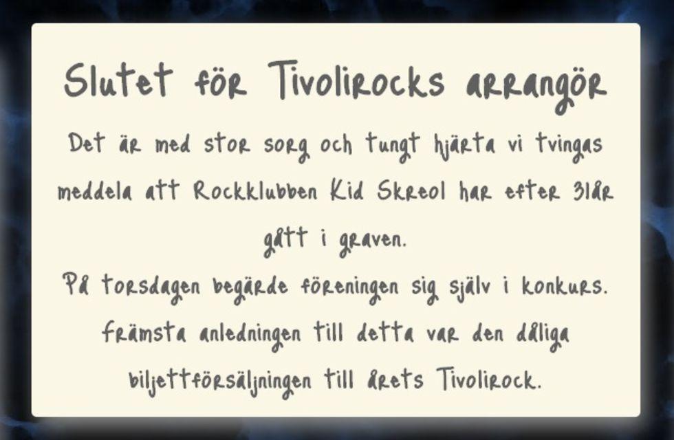 Tivolirock i konkurs