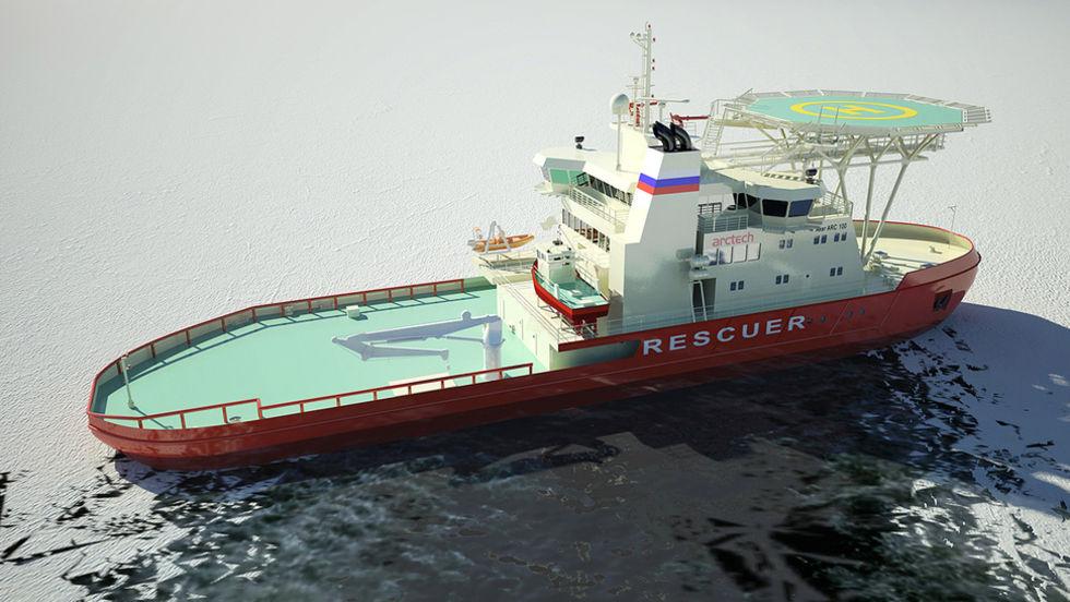 Ny isbrytare rensar is på tvären