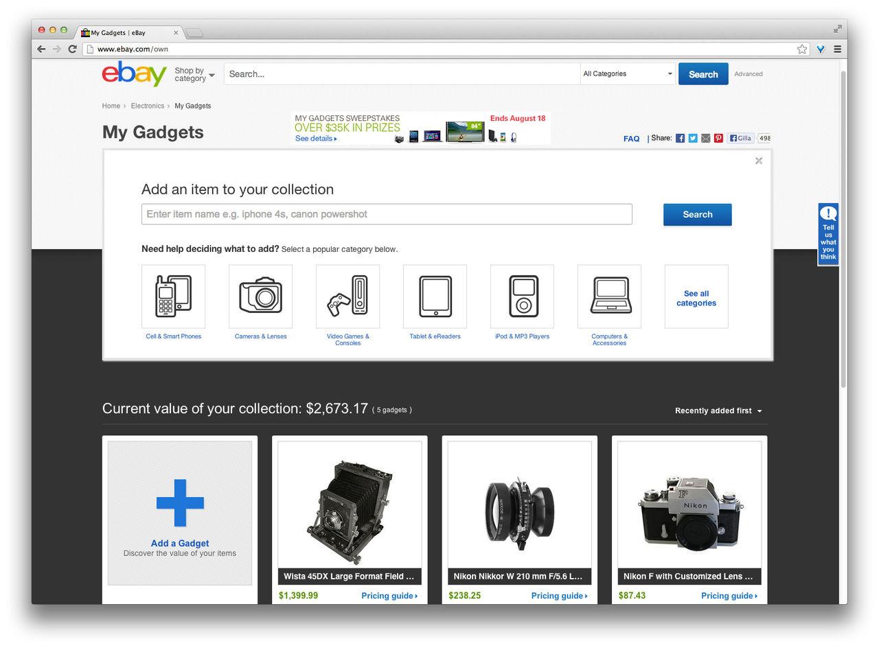 Samla dina prylar på eBay My Gadgets