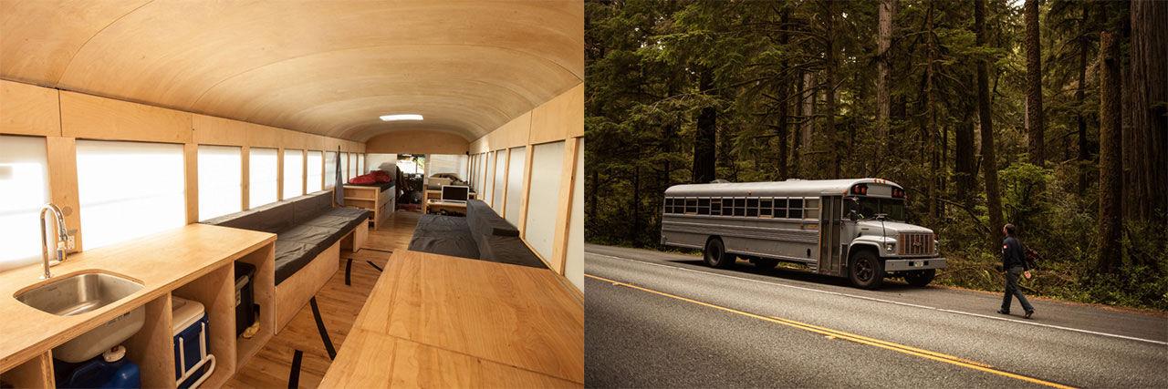 Hank byggde sig ett hus av en skolbuss