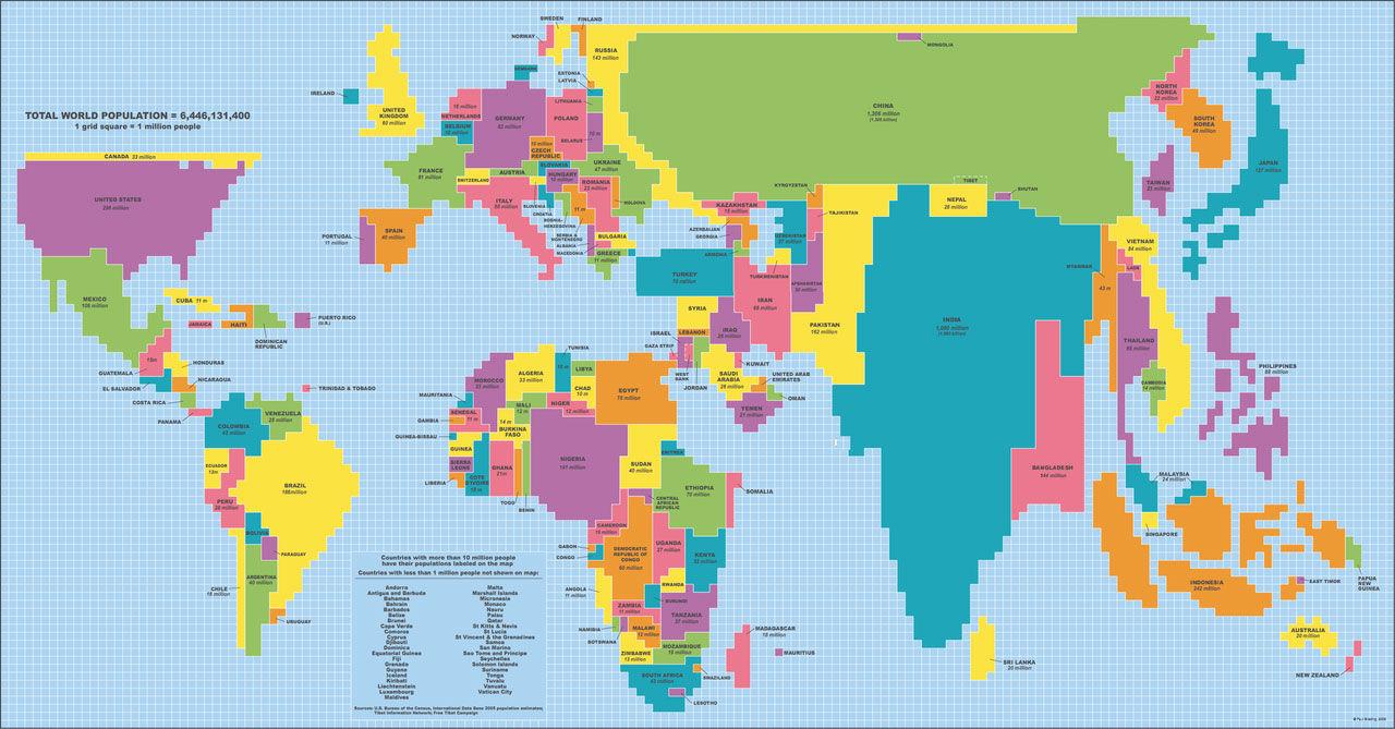 Om landmassan mellan länder varit rättvist fördelad hade världen sett ut så här