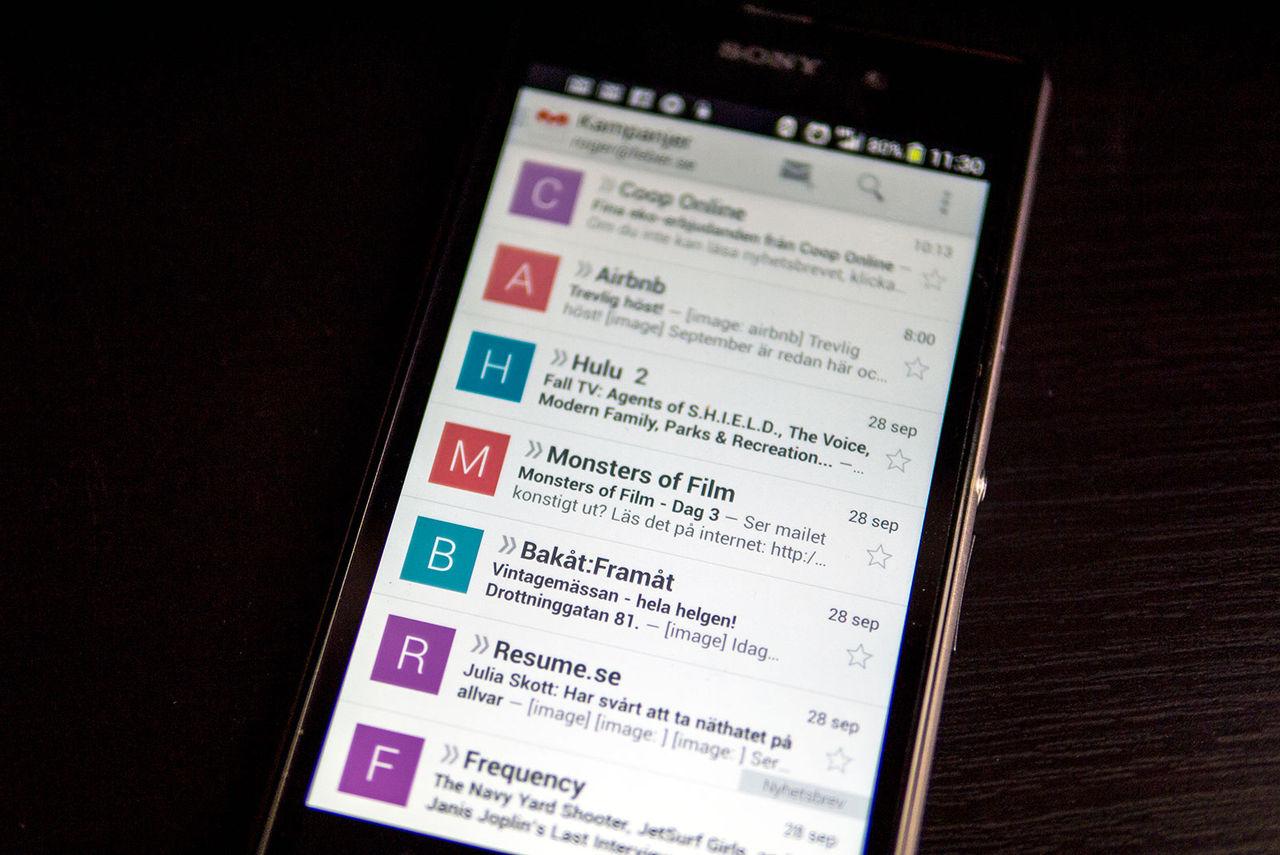 Gmail-appen på Android kan få annonser