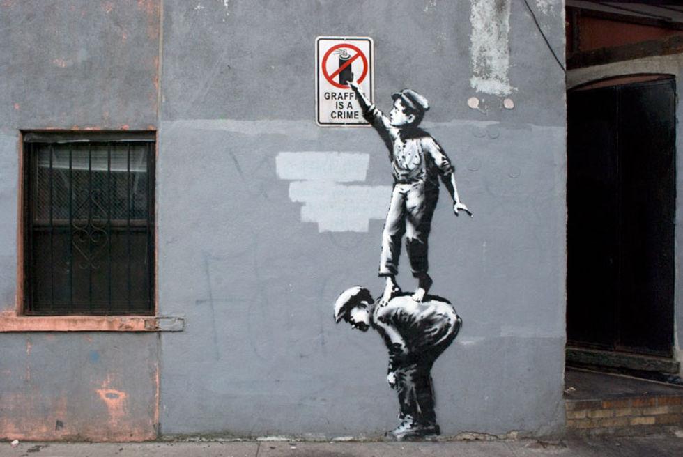 Banksy guidar till sin konst i New York