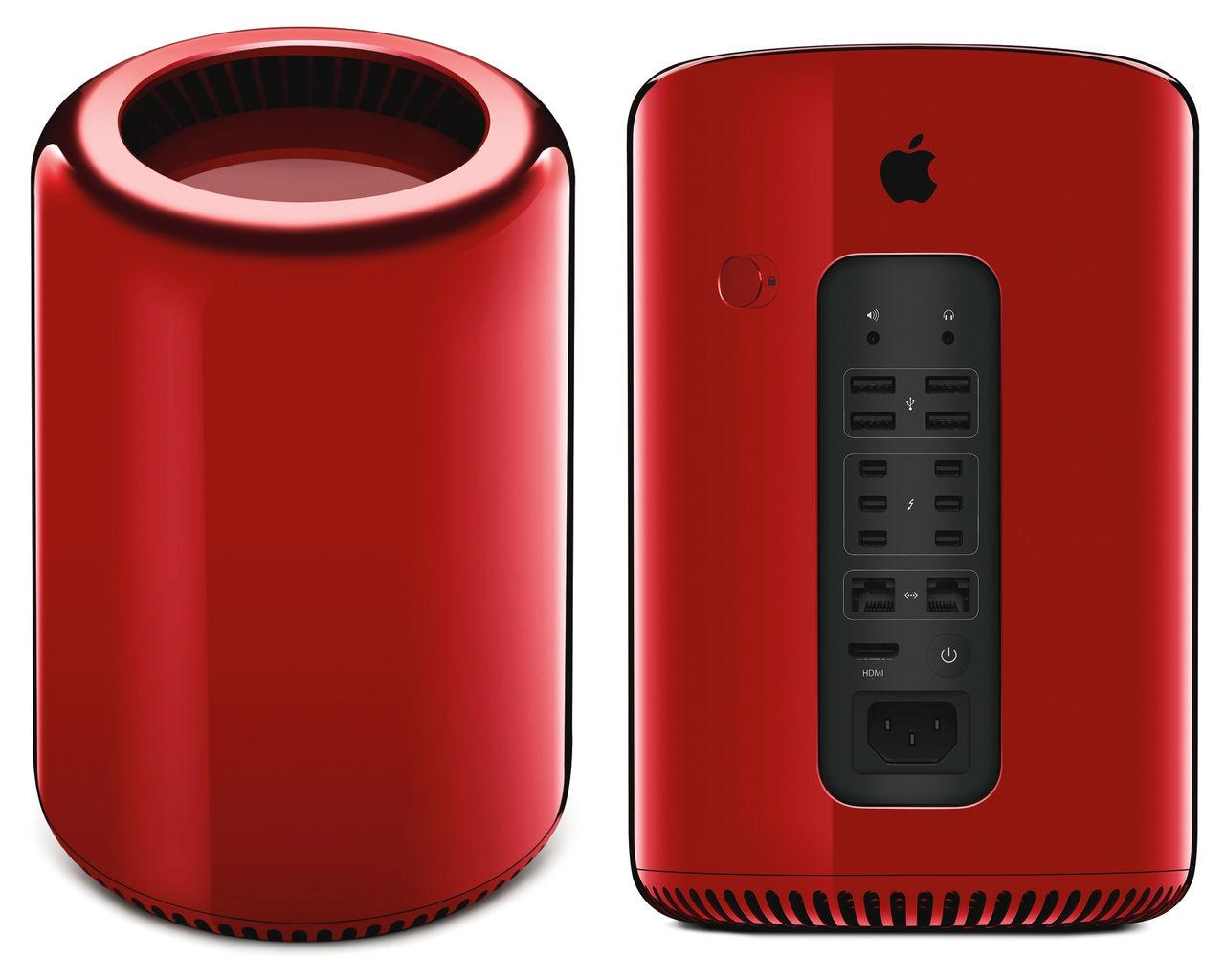 En röd Mac Pro