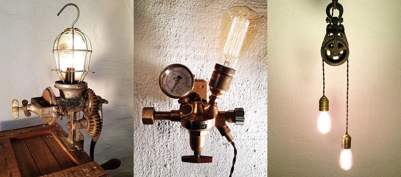 Lampor av gamla prylar