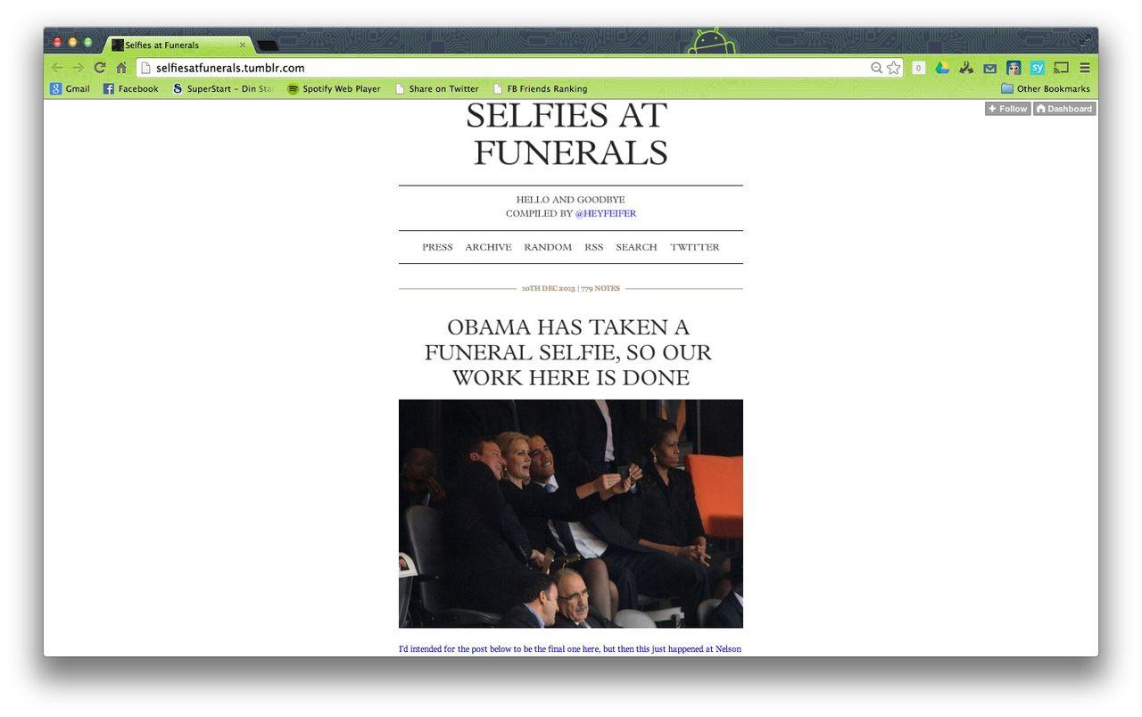 Selfies at funerals igen