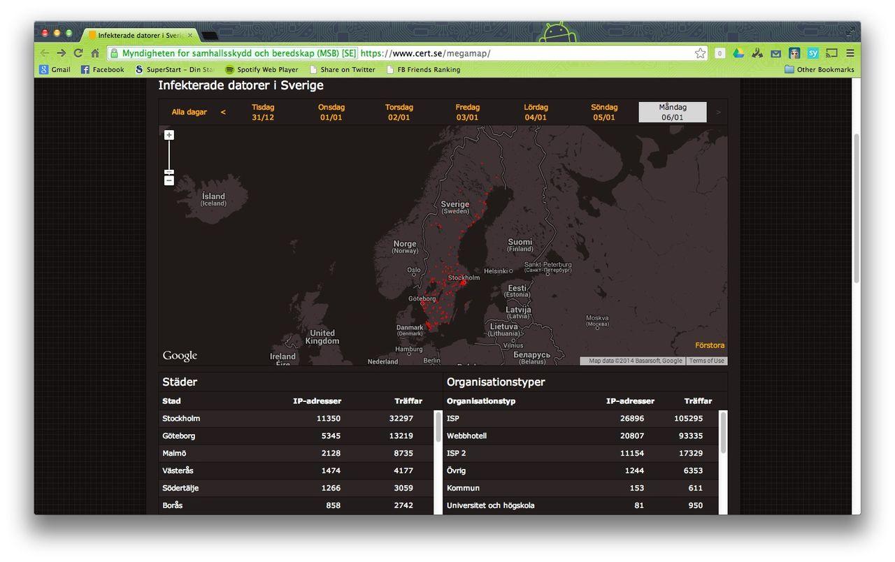 Karta visar virussmittade datorer i Sverige