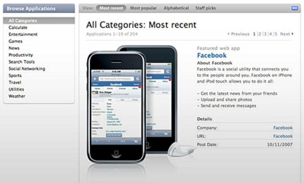 Apple listar webbapplikationer för iPhone