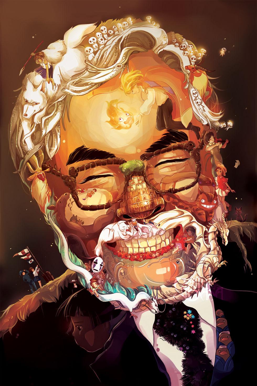 Hyllningsporträtt av Hayao Miyazaki