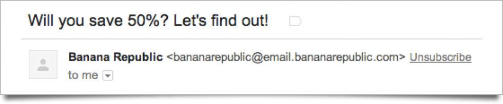 Unsubscribe-knapp i Gmail