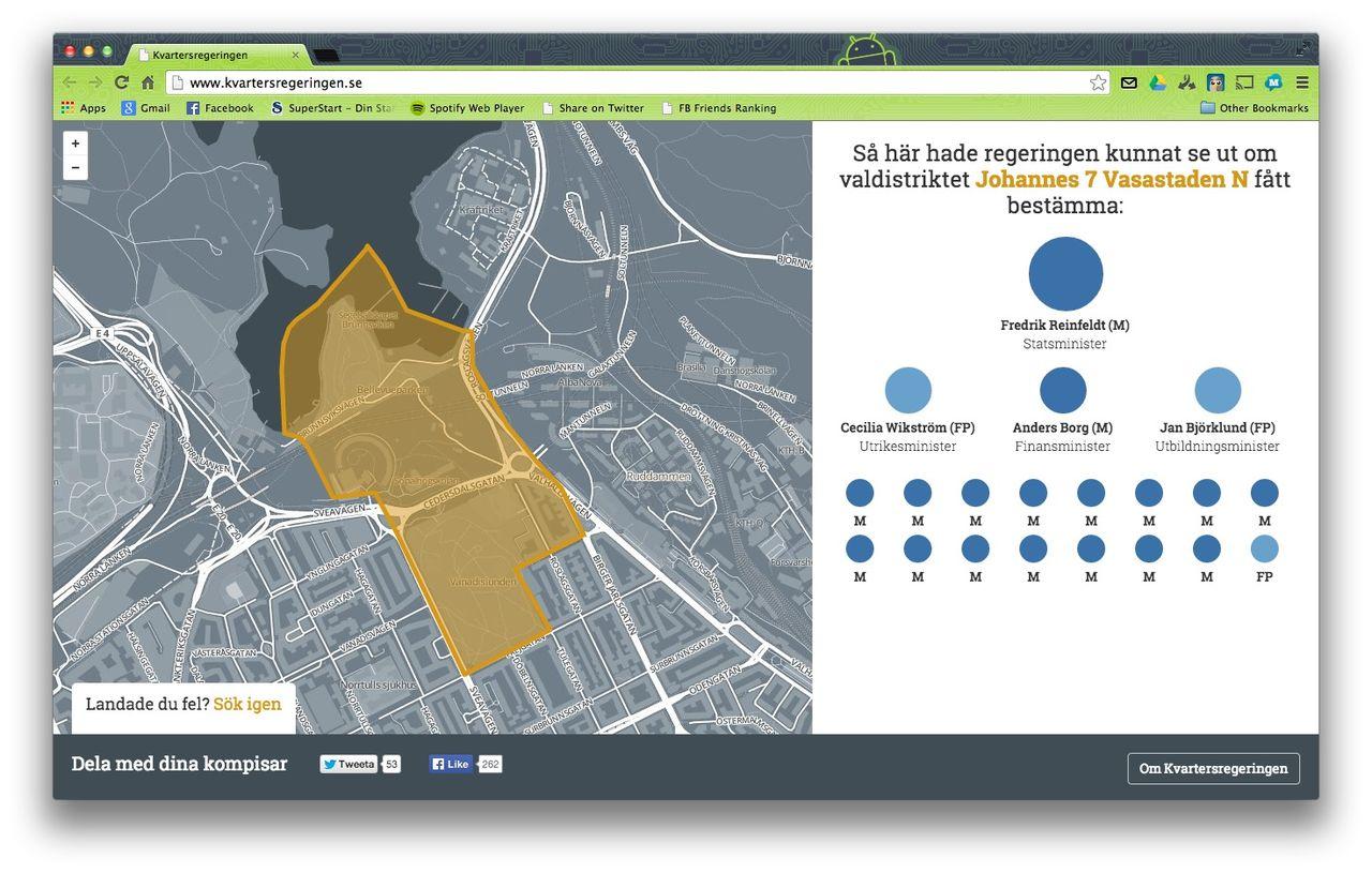 Kolla in hur ditt kvarter röstar med Kvartersregeringen