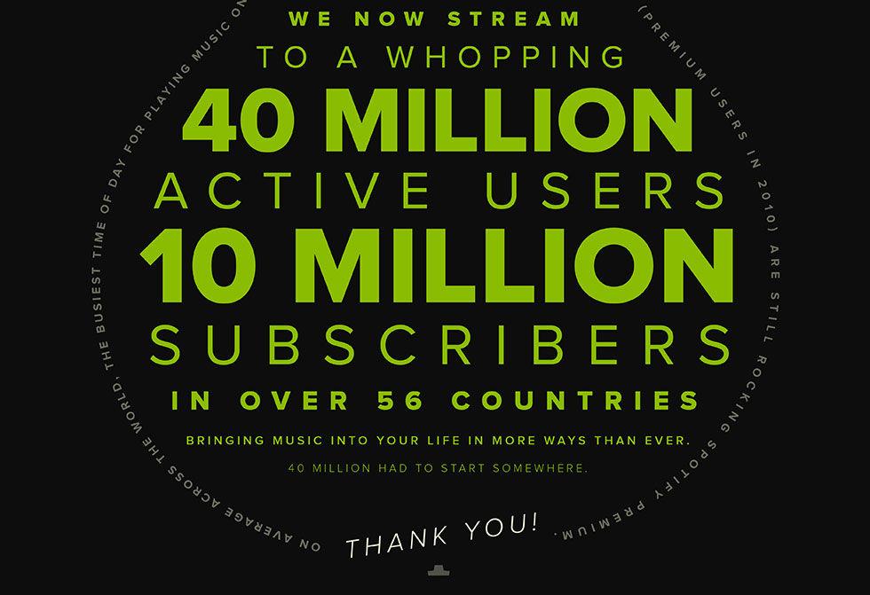 Spotify har nu 10 miljoner betalande användare
