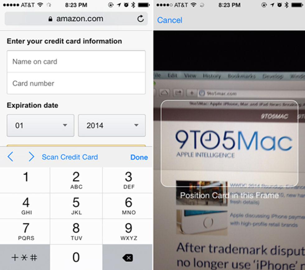 Scanna kredikort med iOS 8