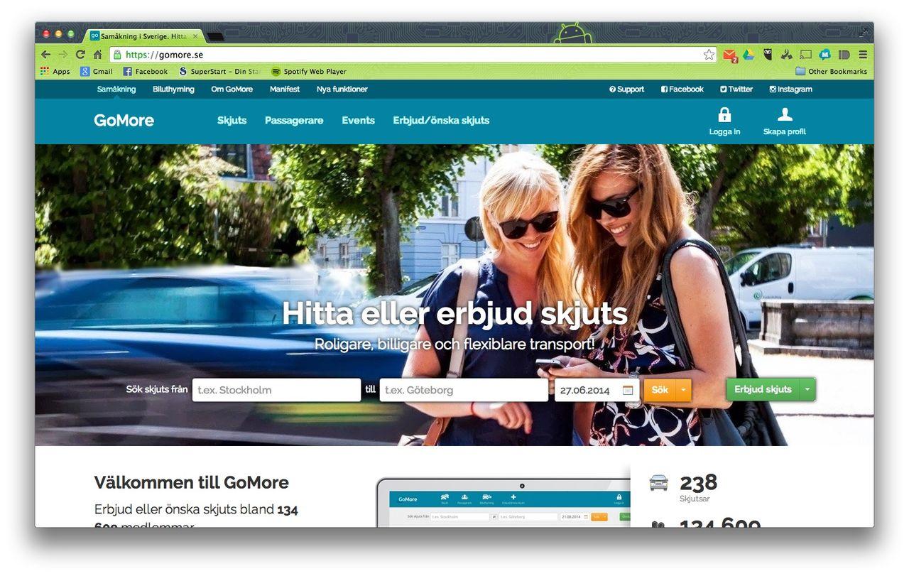 Samåkningstjänsten GoMore lanseras i Sverige