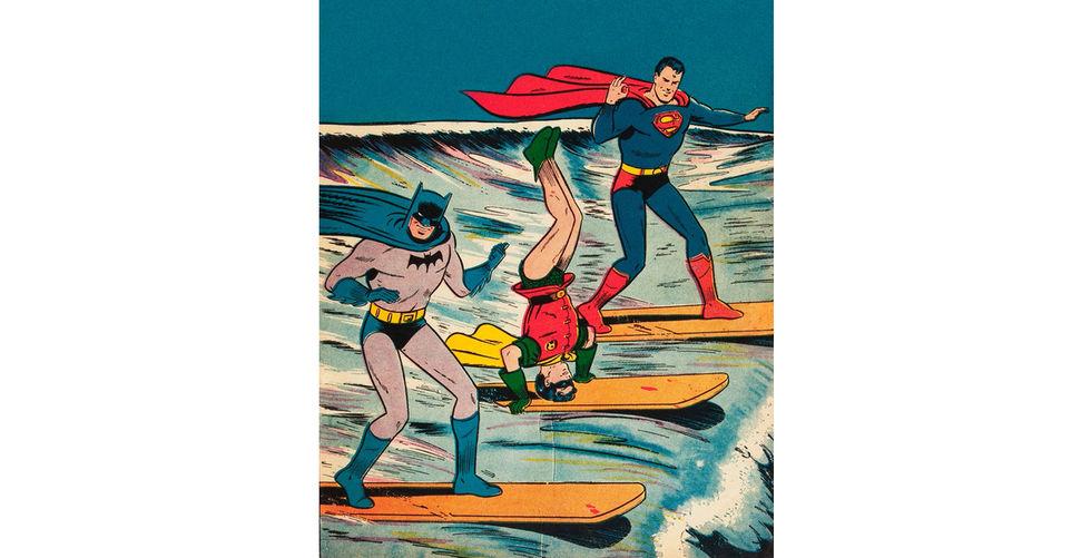 Batman, Robin och Superman surfar