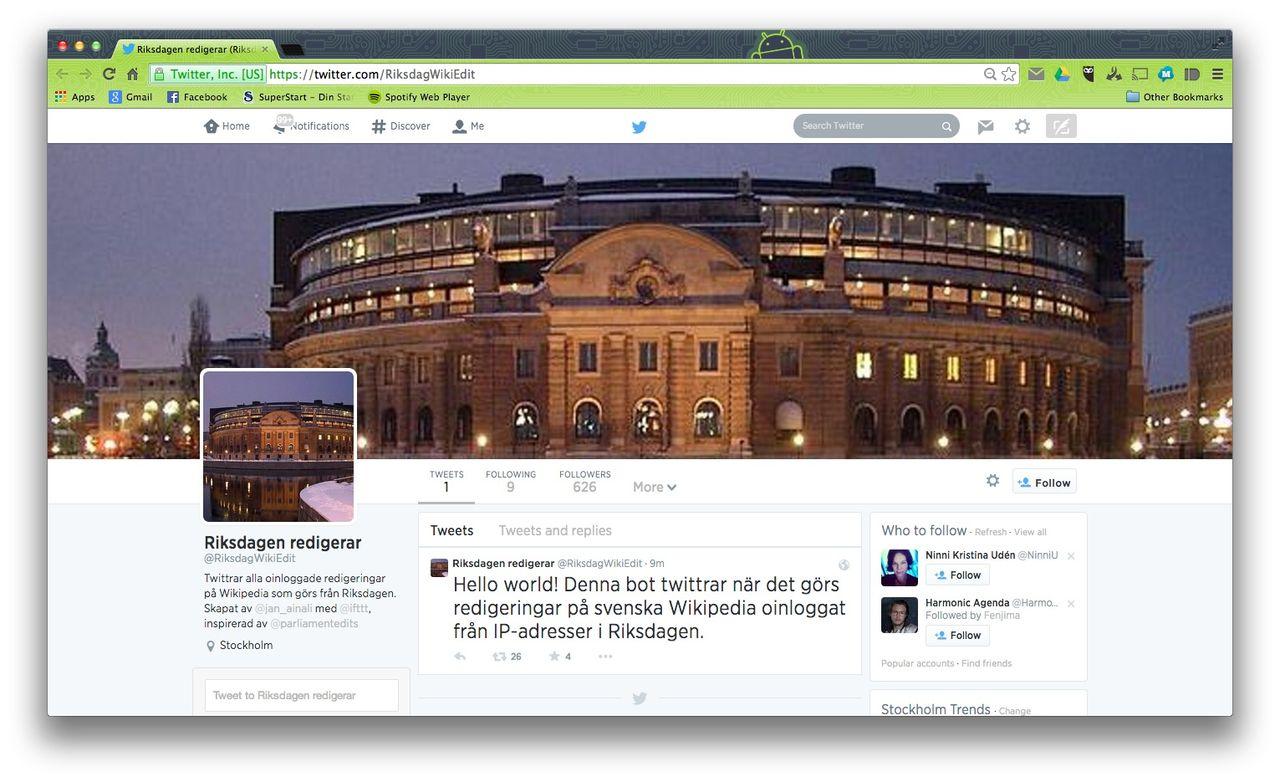 Twitter-bot håller koll på när Riksdagen ändrar på Wikipedia