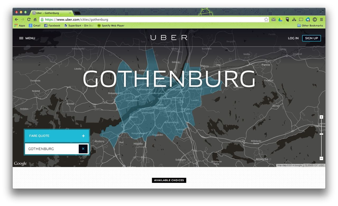 Uber drar igång i Göteborg