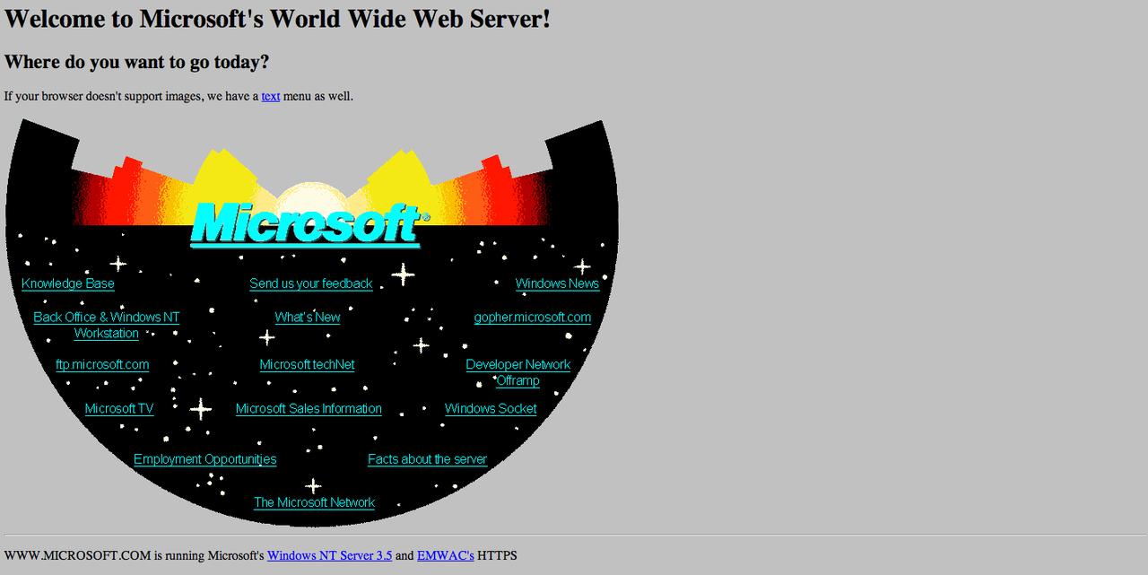 Så här såg Microsofts hemsida ut 1994