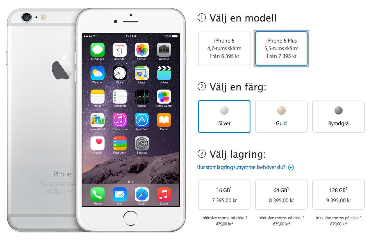 Här är de svenska priserna på iPhone 6 och 6 Plus. Från 6 395 kronor ... 7be97bb260a5f