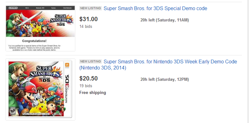 Demokoder till  Super Smash Bros. säljs på ebay