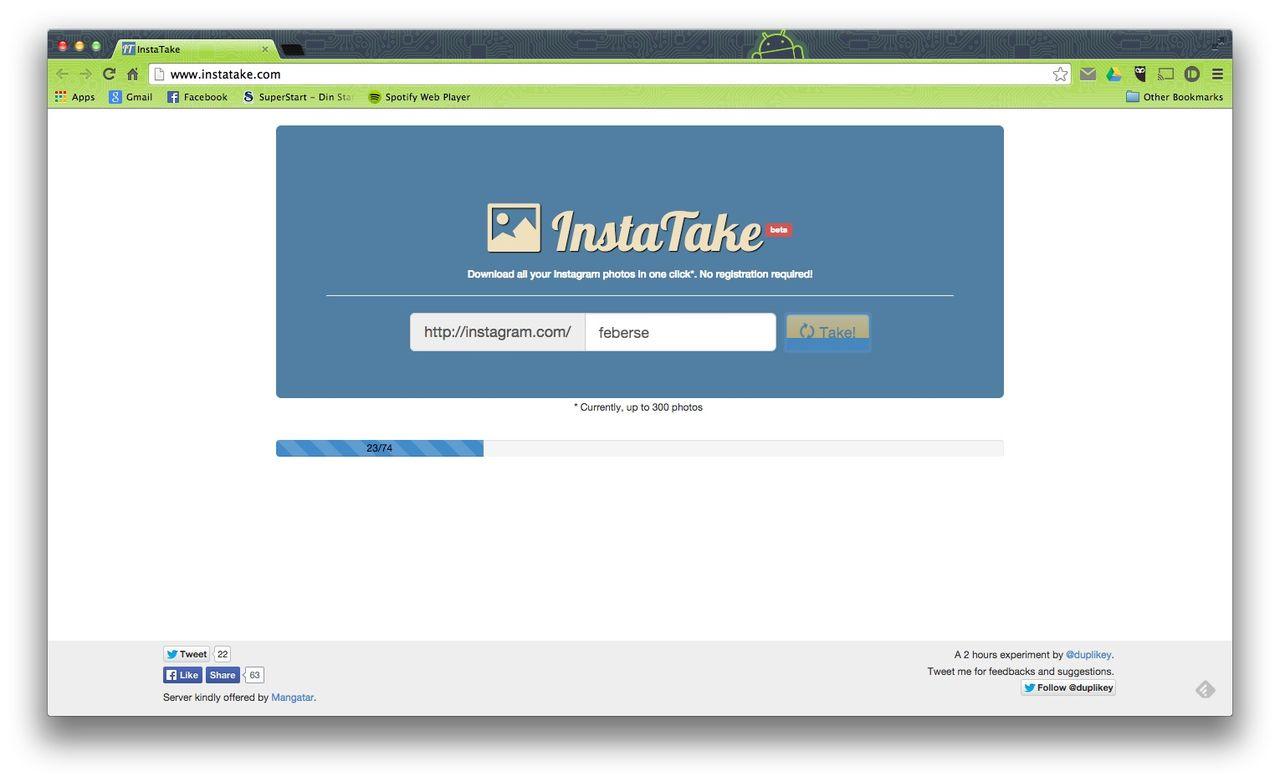 Ladda ner bilder från Instagram med InstaTake