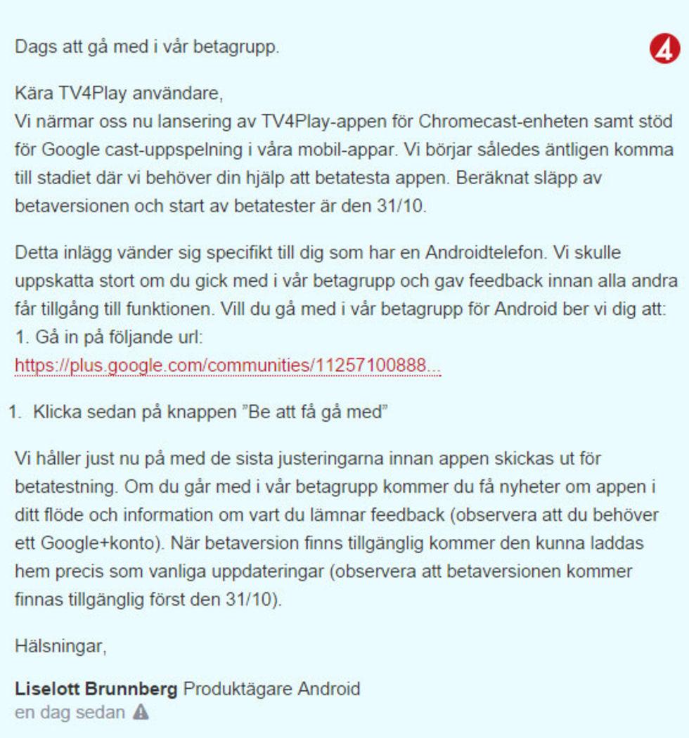 Betatesta TV4Play för Chromecast
