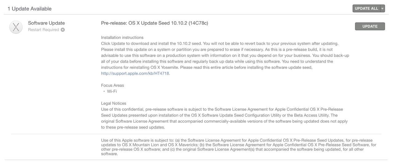 OS X 10.10.2 närmar sig