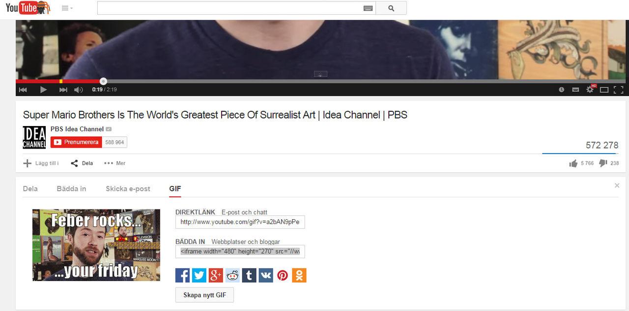 Skapa giffar direkt på Youtube