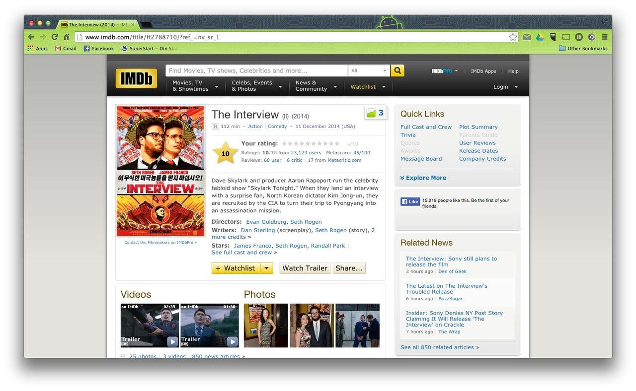The Interview får högsta betyg på IMDb