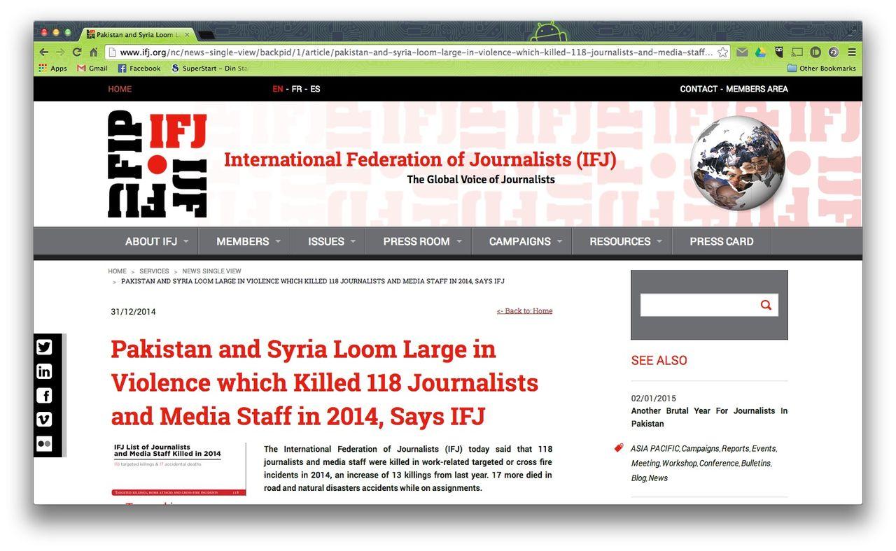 118 journalister dödade under 2014