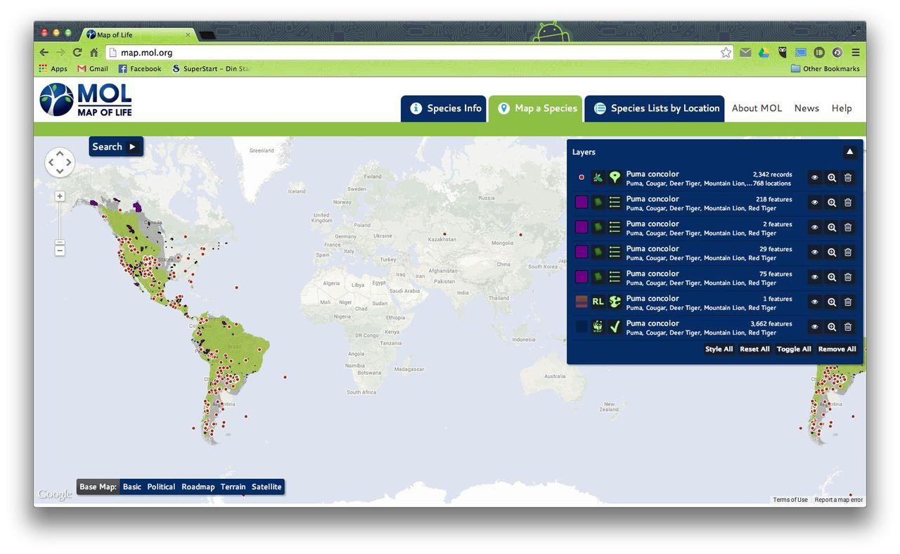 Map of Life listar var utrotningshotade djur finns