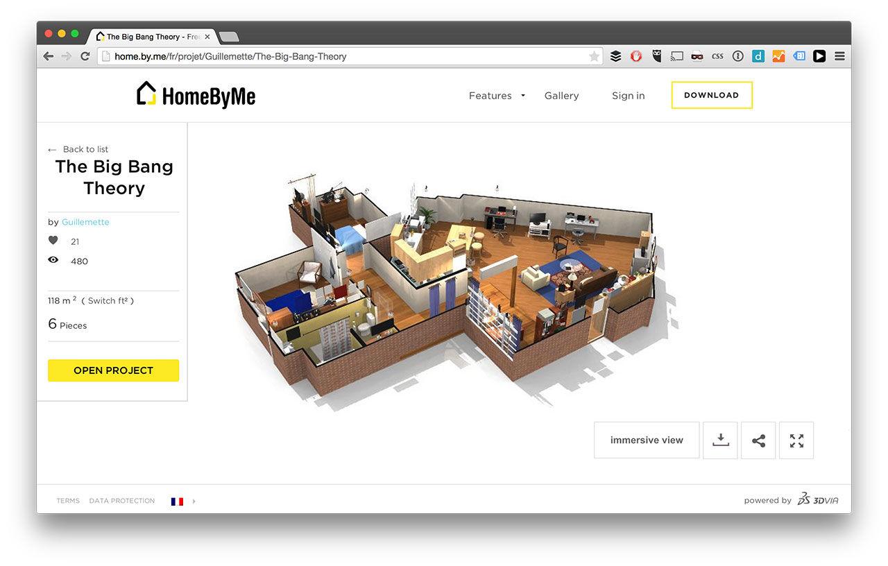 Lägenheter från kända TV-serier som 3D-ritningar