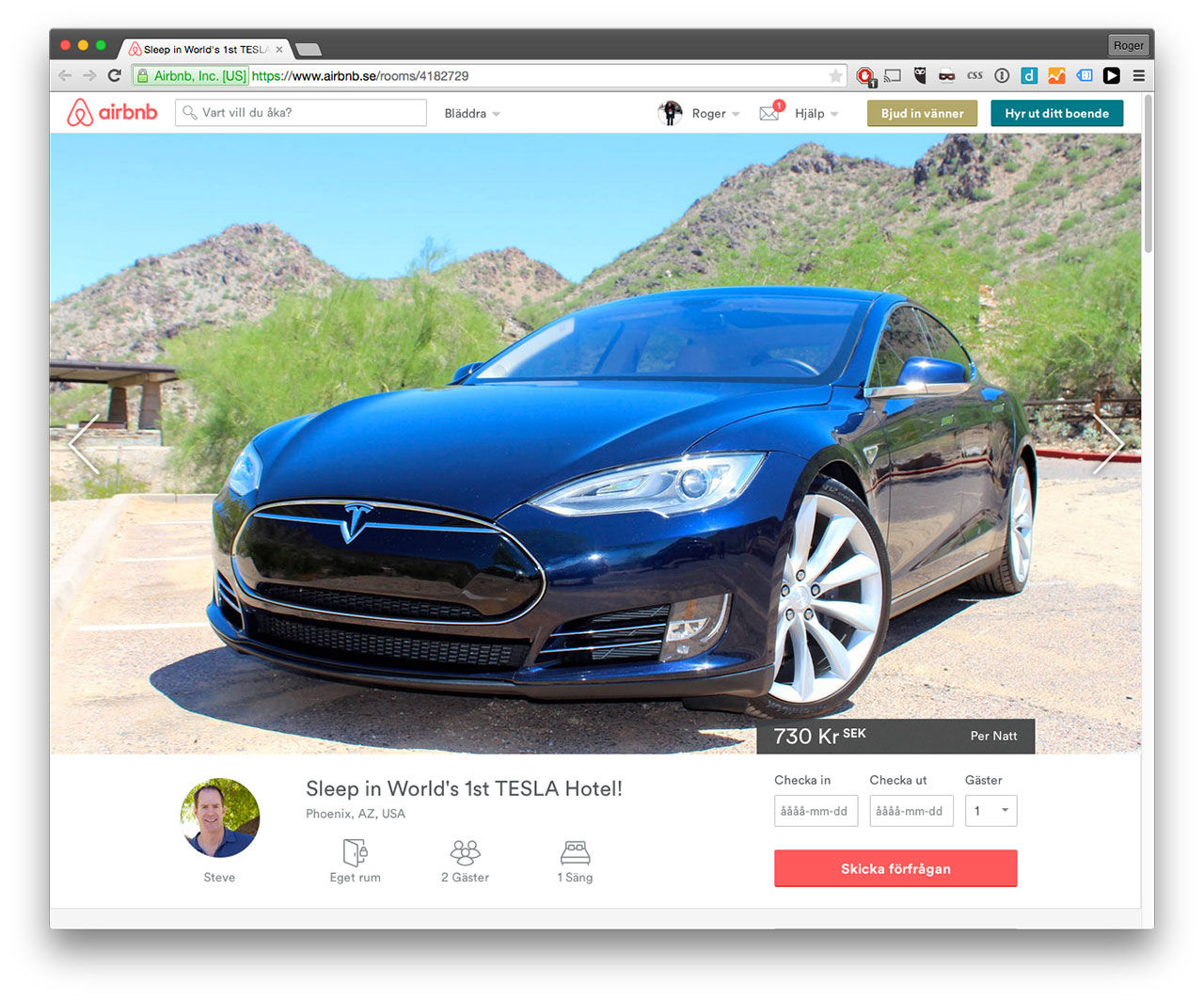 Sov i en Tesla via Airbnb