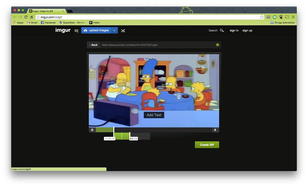 Gör animerade giffar av videoklipp på Imgur