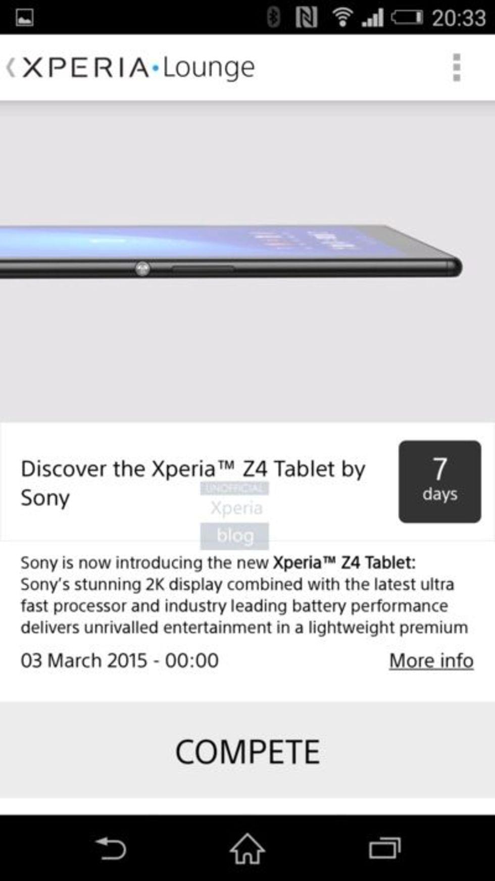 Sony råkar utannonsera Z4 Tablet i Xperia Lounge