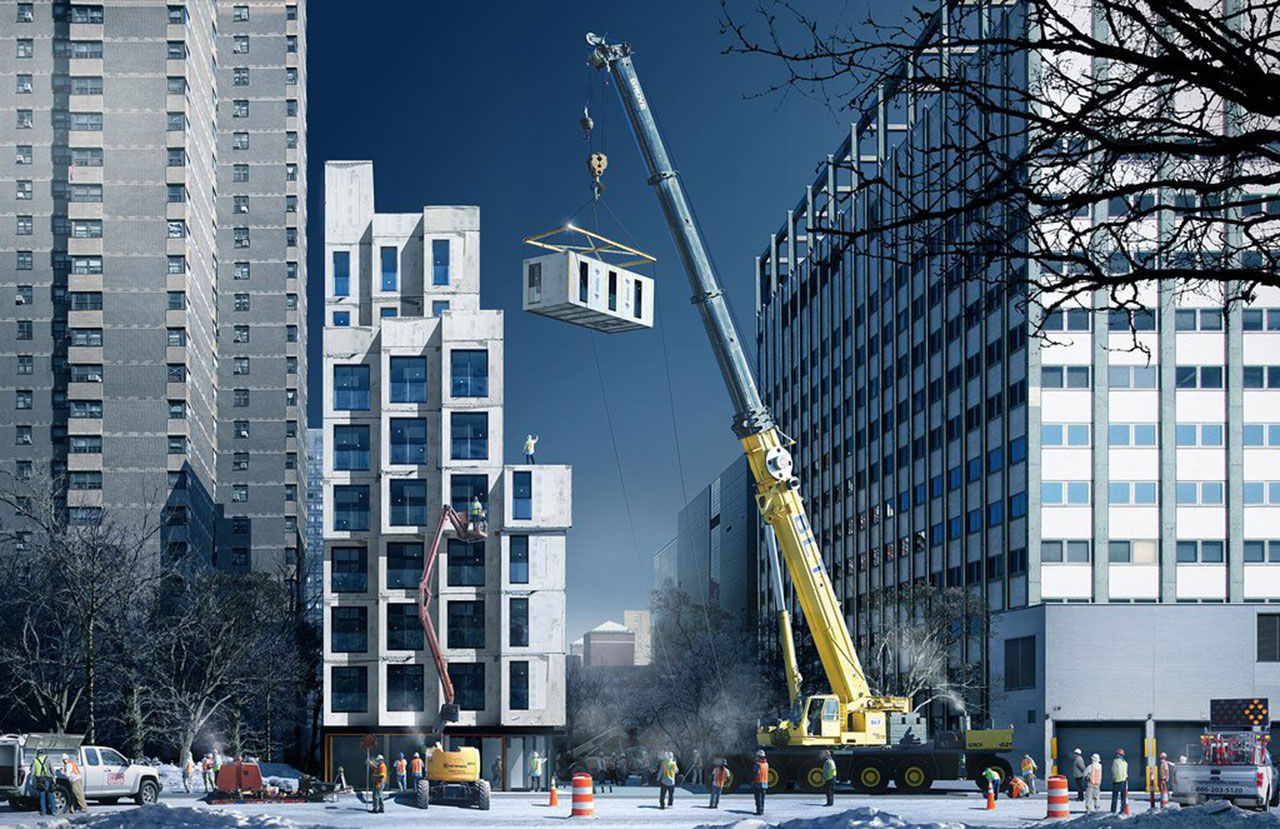 Mikrolägenheter monteras upp i New York