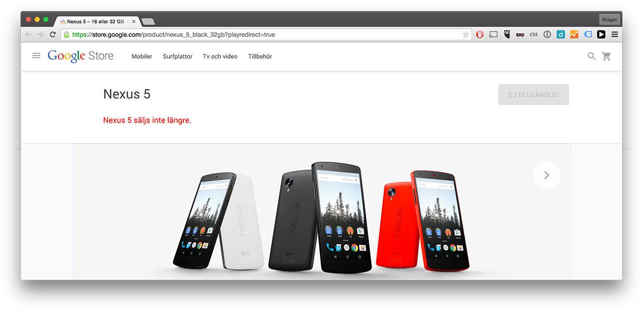 Google slutar sälja Nexus 5