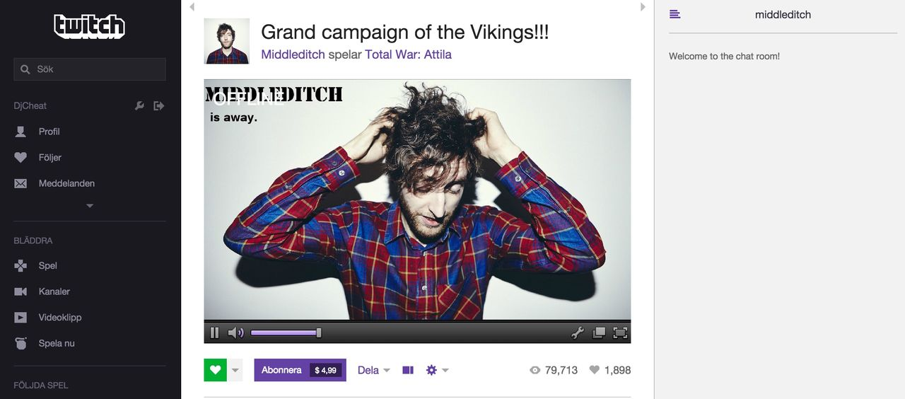 Thomas Middleditch strömmar på Twitch