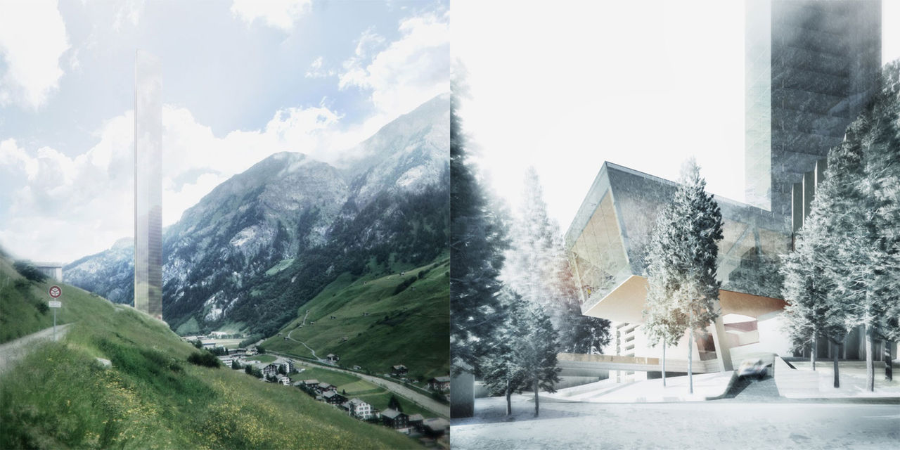 Skyskrapa mitt i schweizisk alpby