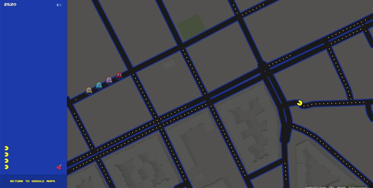 Nu kan du spela Pac Man i Google Maps
