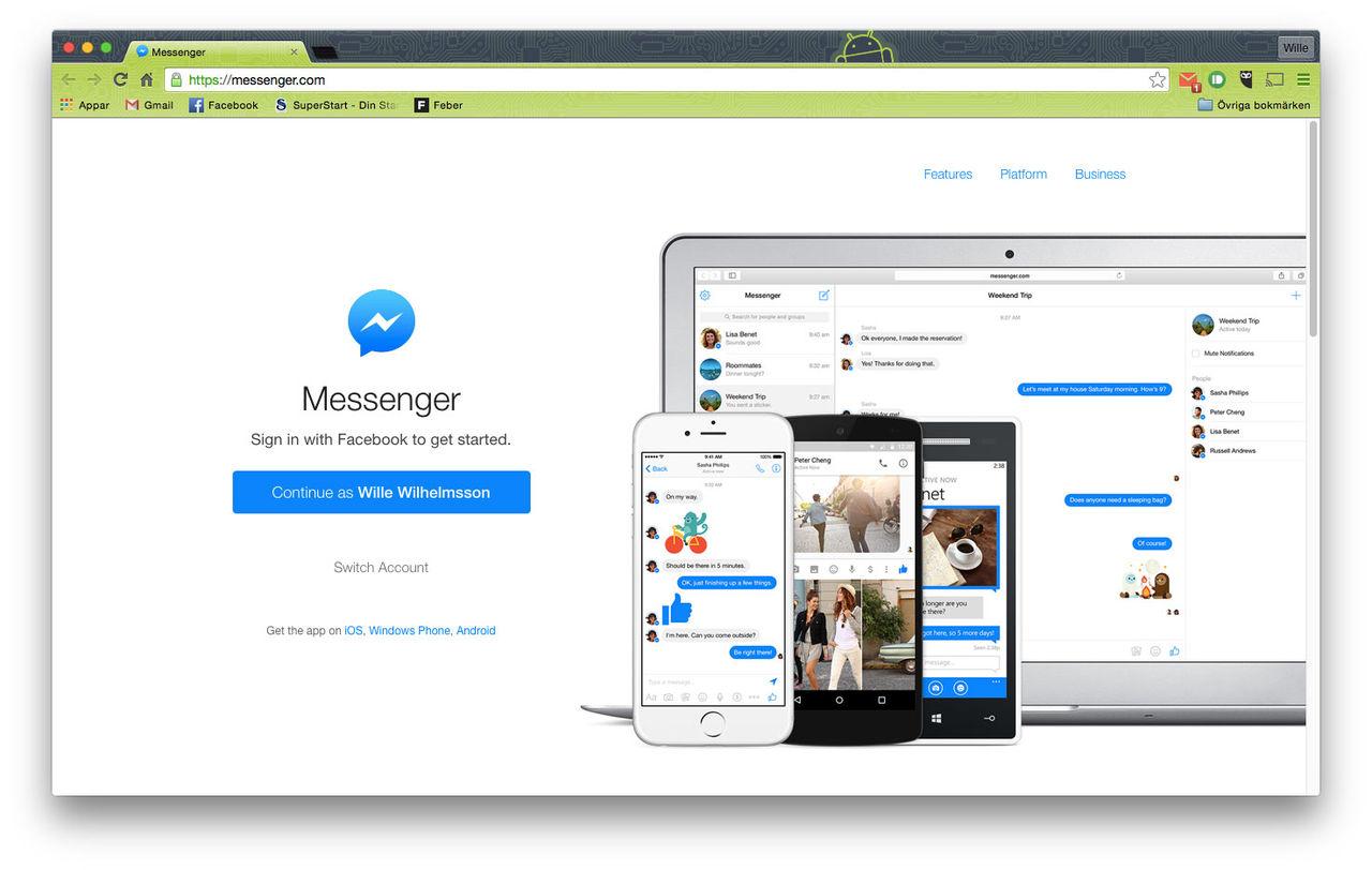 Facebook lanserar messenger för webben