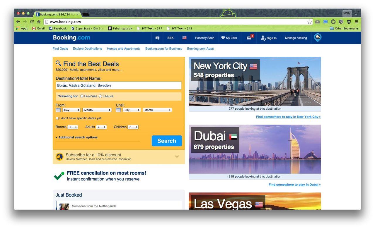 Booking.com går på med krav från Sverige