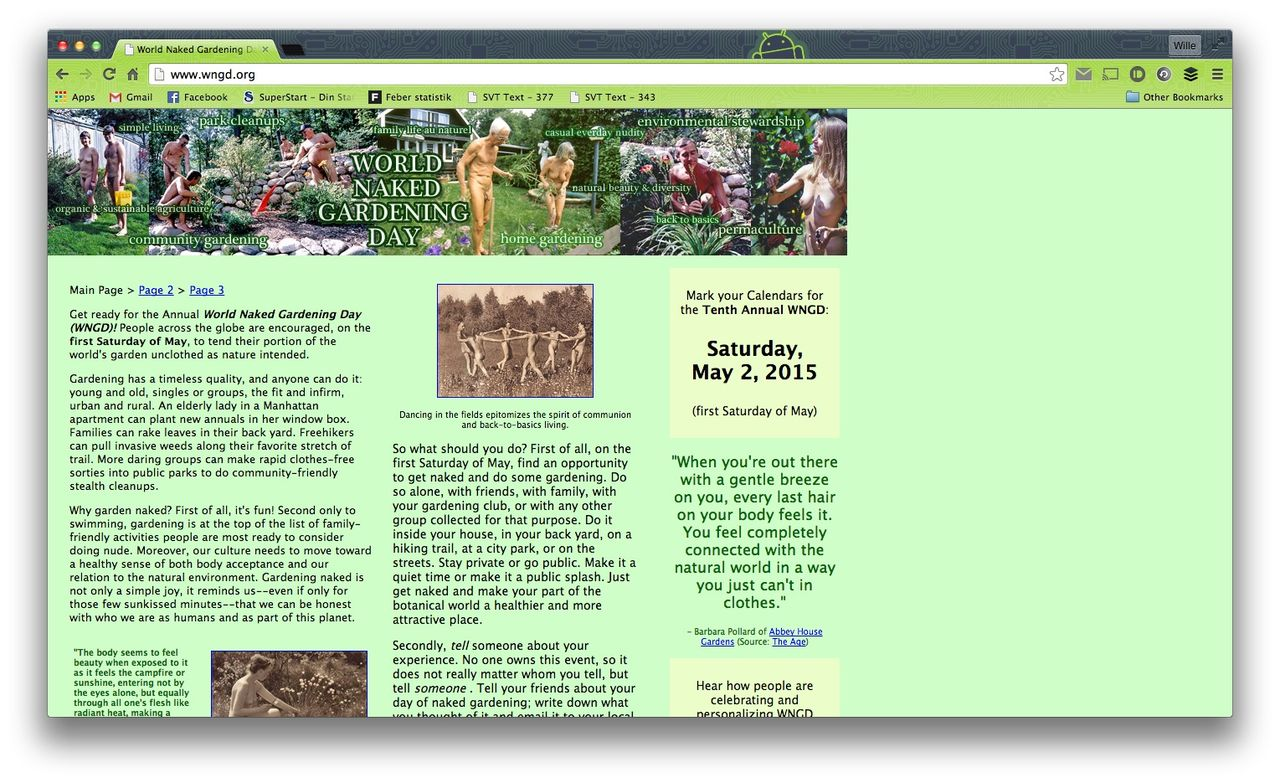 Tut i luren - idag är det World Naked Gardening Day