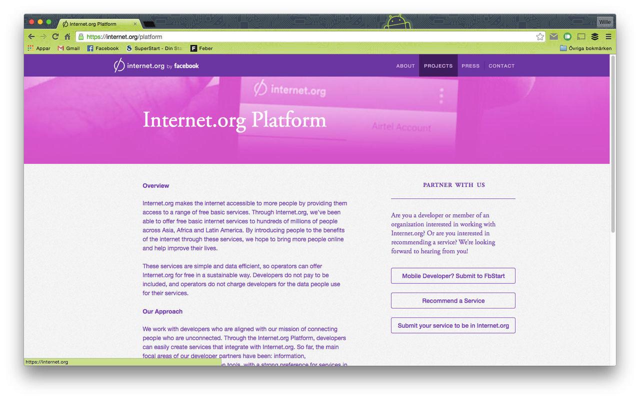 Facebook lanserar Internet.org Platform