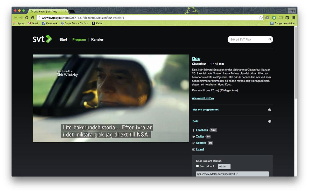 Kolla in Citizenfour på SVT Play