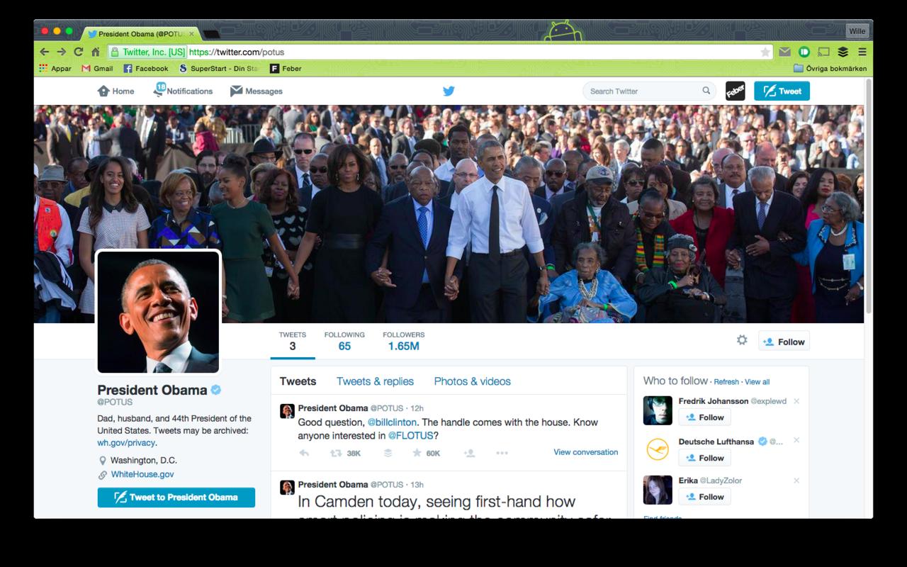 Nu finns President Obama på Twitter