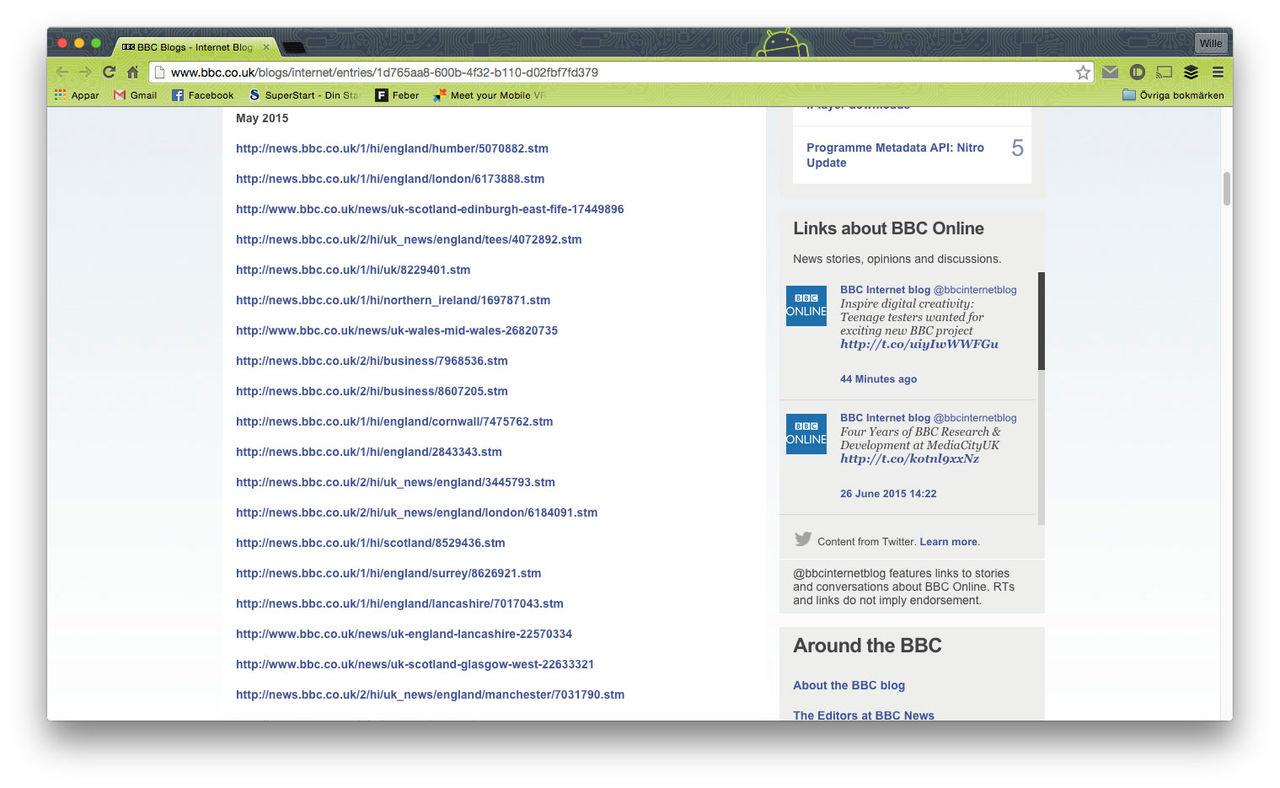 BBC listar vilka av deras sidor som är borttagna från Google