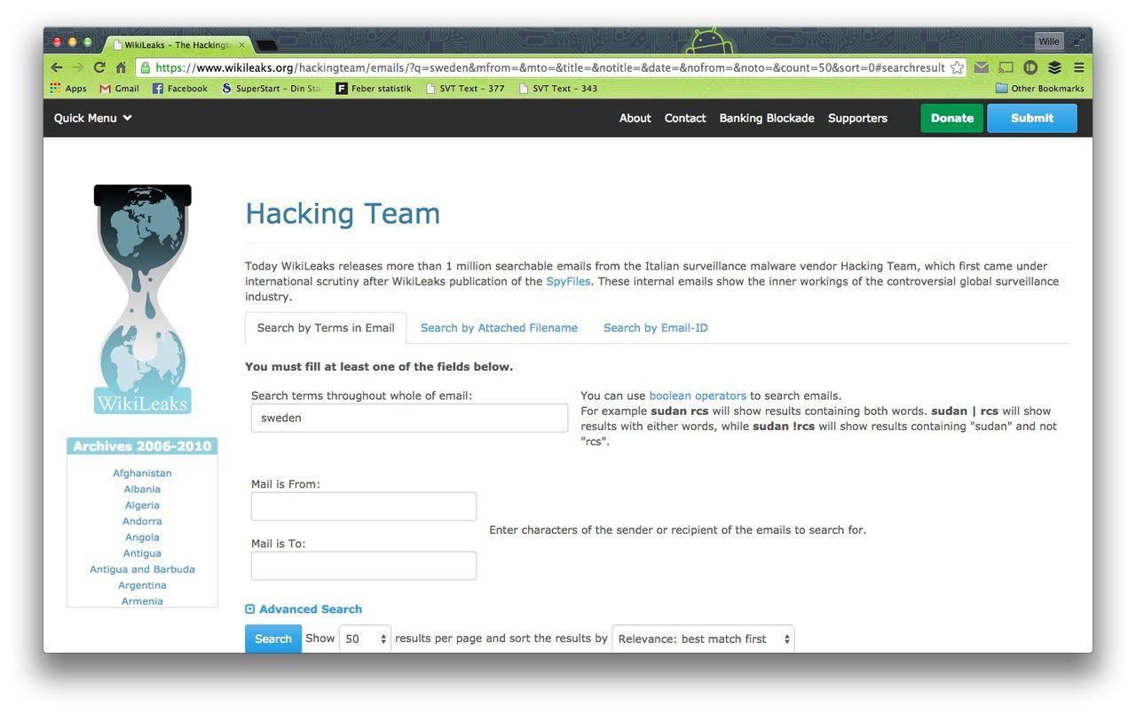 WikiLeaks publicerar Hacking Teams epostdiskussioner