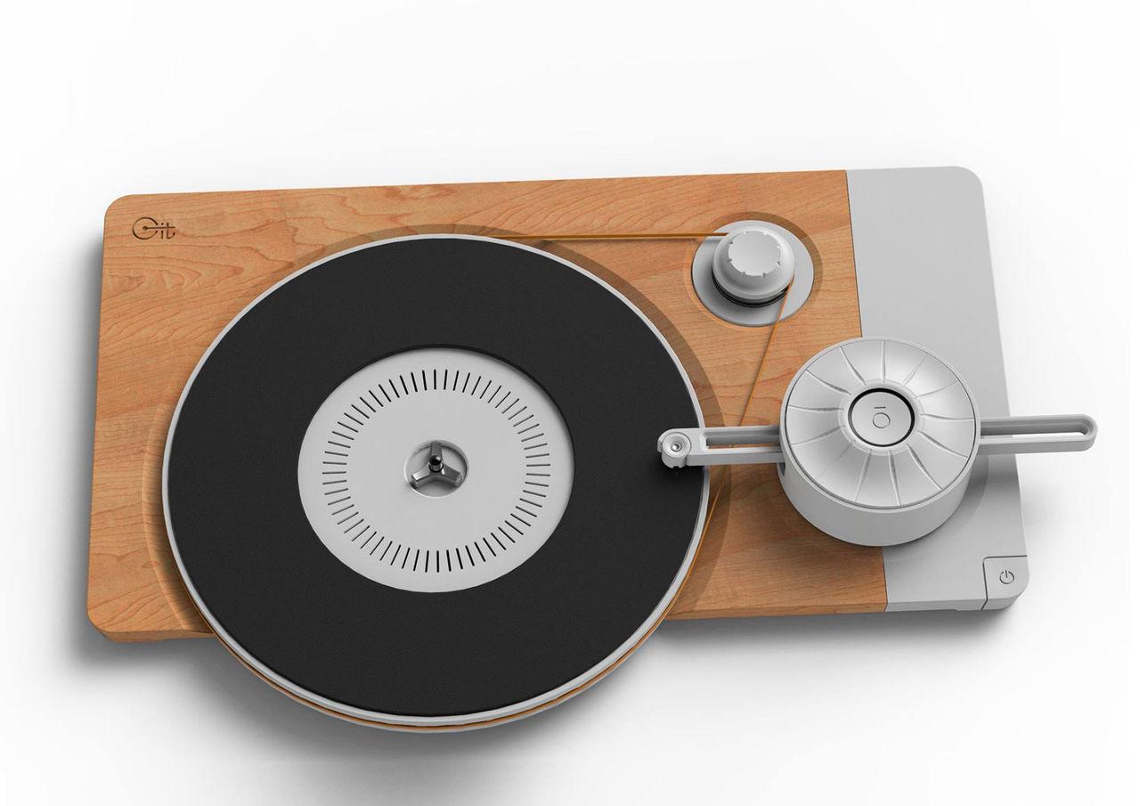 En modernt minimalistisk skivspelare